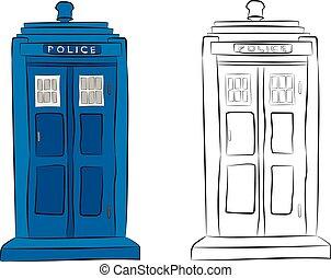 El dibujo de la caja de policía en lápiz