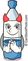 El dibujo de la mascota de la botella de agua del diablo