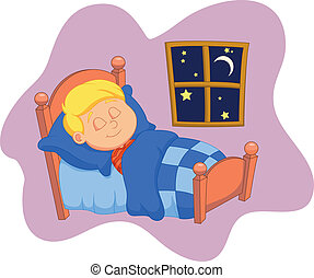 El dibujo del chico estaba dormido en la cama