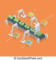 El dinero hace el proceso un concepto isometrico.