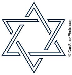 El diseño de estrella de vector judío en blanco