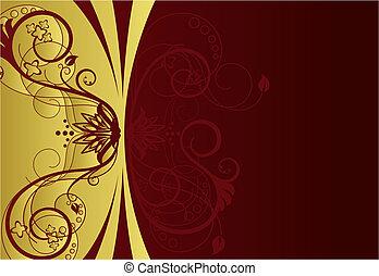 El diseño de la frontera floral de oro y rojo