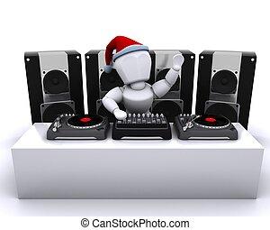 El DJ de Navidad mezclando discos en tocadiscos