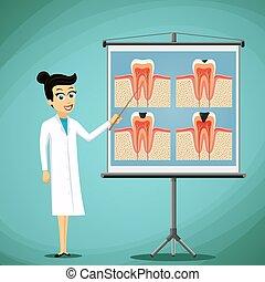 El doctor dentista aparece en un diagrama de pizarra del diente humano.