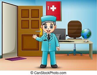 El doctor está con su oficina