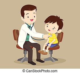 El doctor está viendo a un niño