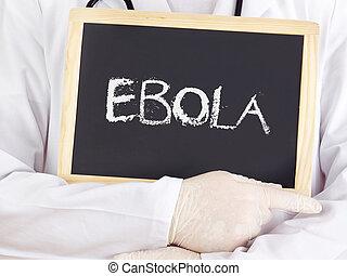 El doctor muestra información: ébola