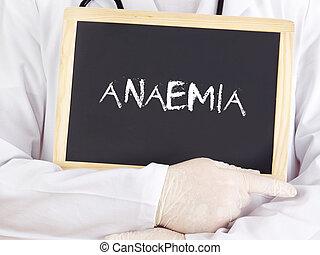 El doctor muestra información en la pizarra: anemia