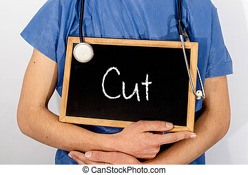 El doctor muestra información en la pizarra: corte. Un concepto médico.