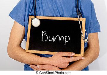 El doctor muestra información en la pizarra: golpe. Un concepto médico.