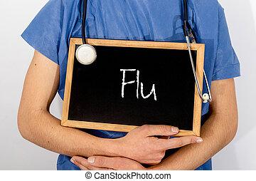 El doctor muestra información en la pizarra: gripe. Un concepto médico.