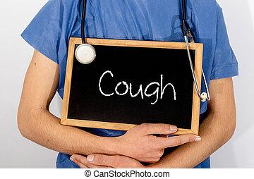 El doctor muestra información en la pizarra: tos. Un concepto médico.