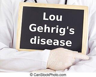 El doctor muestra información: la enfermedad de Lou Gehrig