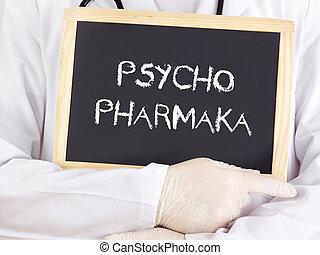 El doctor muestra información: medicación psiquiátrica en alemán