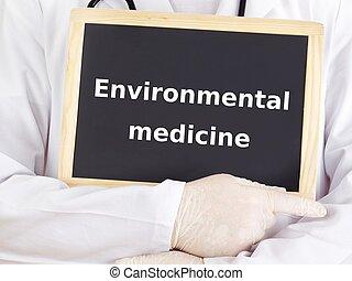 El doctor muestra información: medicina ambiental