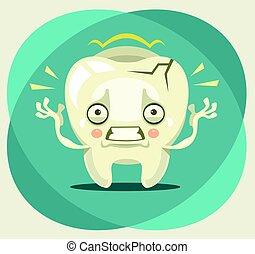 El dolor de muelas lloronas. Ilustración plana de dibujos animados