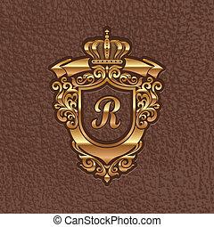 El dorado escudo real de armas