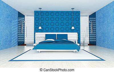 El dormitorio azul contemporáneo
