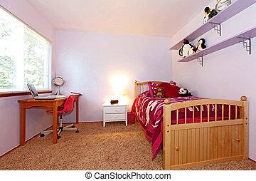 El dormitorio de la chica en rosa