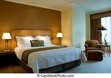 El dormitorio de un elegante hotel 5 estrellas