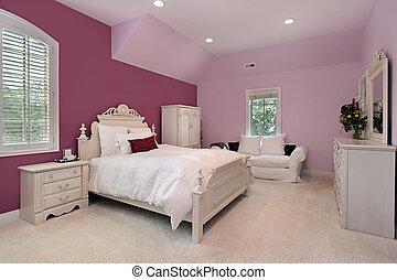 El dormitorio rosa de la chica en casa de lujo