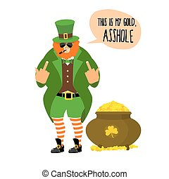 El duende malo muestra sexo. Bully con barba roja. Un duende enojado que no da una olla de oro. Una gran olla con tesoros de monedas de oro. Un enano asqueroso fumando una pipa y gafas de sol. Este es mi oro, imbécil. Ilustración para las vacaciones de San Patrick.