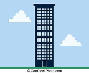El edificio de apartamentos es alto