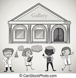 El edificio de la galería y la gente