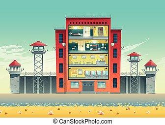 El edificio de la prisión cruza la sección interior del vector
