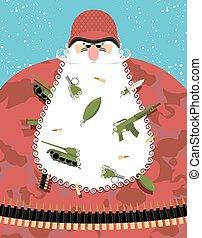 El ejército de Santa Claus. Santa con uniformes y casco de soldado. Abuelo Defender con armas y munición en la barba. Tanque y ametralladora, granada de mano. Personaje de Navidad en el equipo militar cinturón de balas.