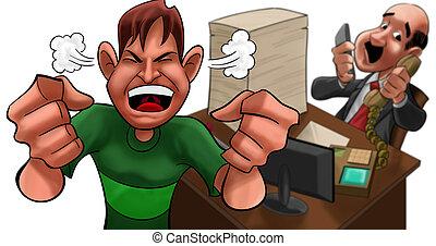 El ejecutivo está muy ocupado y enojado