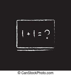 El ejemplo de matemáticas en el icono de la pizarra dibujado en tiza.