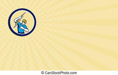 El electricista de la tarjeta de negocios con un círculo de rayos