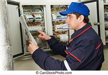 El electricista en el trabajo tiene un plan