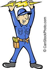 El electricista sujetando relámpagos eléctricos