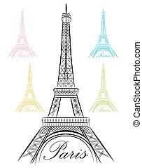 El elegante París eiffel torre icono