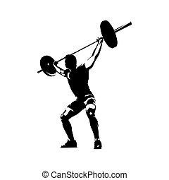 El elevador de pesas levanta una gran pesa, una silueta abstracta y aislada. Dibujo de tinta. Fitness