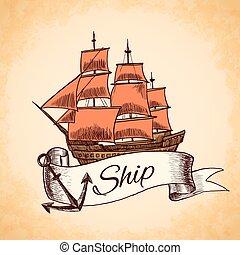 El emblema de un barco alto