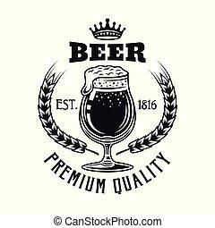 El emblema de vector de cerveza con vidrio aislado en blanco