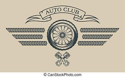 El emblema del auto en estilo antiguo.