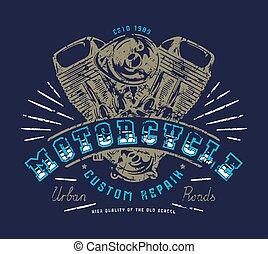 El emblema del club de motos para la camiseta