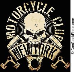 El emblema del cráneo de un motociclista antiguo tee gráfico
