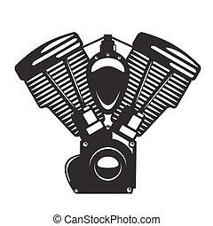 El emblema del motor de una motocicleta en estilo monocromo