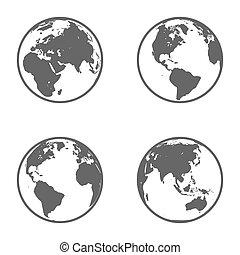 El emblema del planeta Tierra. Icon listo. Vector