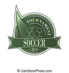 El emblema del torneo de fútbol con bola.