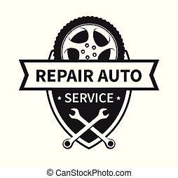 El emblema del vector de reparación del coche y el servicio de neumáticos