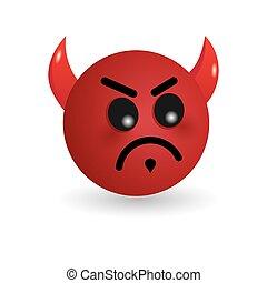 El emoticono del diablo aislado en el fondo blanco. Ilustración vector emoji