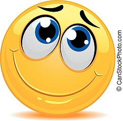 El emoticono sonriente se siente tímido