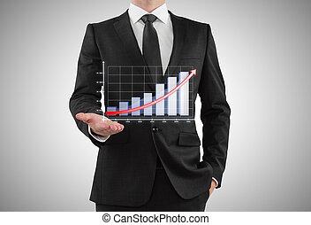El empresario muestra gráfico