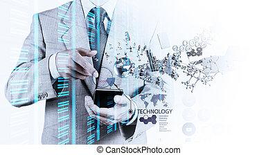 El empresario muestra la tecnología moderna como concepto